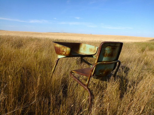 little desk in the prairie