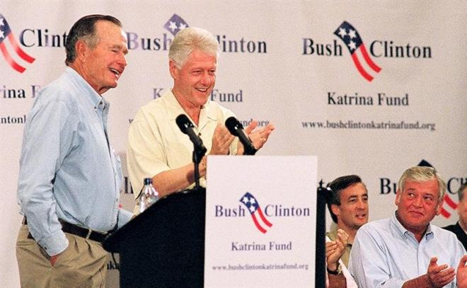 094500   Former Presidents Bush and Clinton join forces in establishing the Bush/Clinton Katrina Fund to assist with humanitarian and reconstruction efforts. 2005 Photo Credit:  Courtesy Reuters, Richard Carson