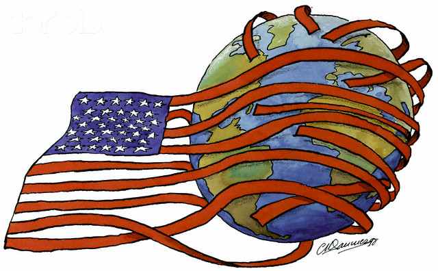 US Flag Around the Earth --- Image by © Images.com/Corbis