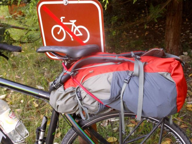 full hiking pack in addition to panniers