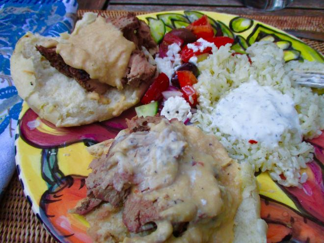 lamb on pita, rice, tzatziki and hummus
