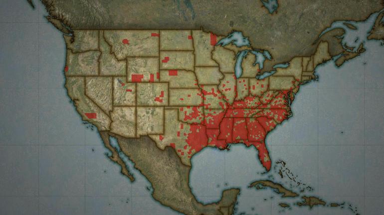 map of lynchings USA